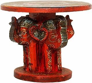 Indian Carved Hardwood Elephant Stool (Wooden Round Elephant Platform)