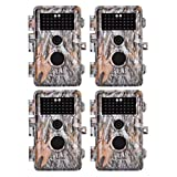 4-Pack Game & Deer Trail Cameras 20MP 1080P HD H.264 Video for Hunting Wildlife and Home Security No Glow Night Vision Time Lapse Motion Activated Waterproof & Password Protected, Photo & Video Model