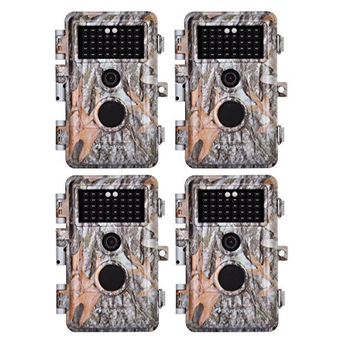 4-Pack Game & Deer Trail Cameras 24MP 2304x1296P MP4 Video for Hunting Wildlife and Home Security No Glow Night Vision Time Lapse Motion Activated Waterproof & Password Protected, Photo & Video Model