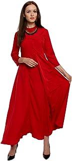Lady Strak Women's Western Mandarin 3/4 Sleeve Red Dress