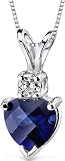 14 Karat White Gold Heart Shape 1.00 Carats Created Blue Sapphire Diamond Pendant