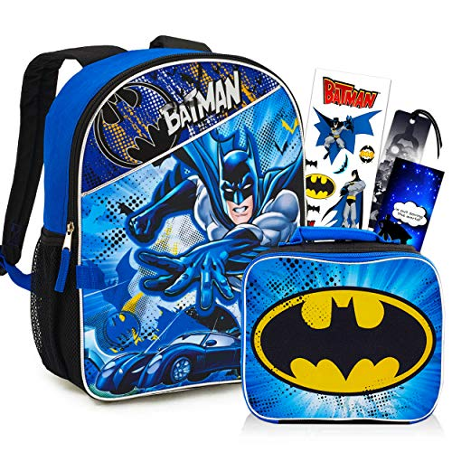 DC Comics Batman Backpack with Lunch Bag Set for Boys Kids ~ Deluxe 16' Batman Backpack with Insulated Lunch Box. Stickers, and More (Batman School Supplies Bundle)