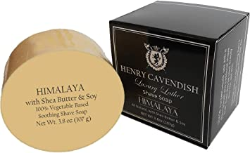 Henry Cavendish Himalaya Shaving Soap with Shea Butter & Coconut Oil. Long Lasting 3.8 oz Puck Refill. Mens Shave Soap. All Natural. Rich Lather, better than Shaving Cream. For Ladies and Gentlemen.