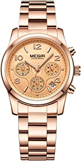 MEGIR Simple Quartz Watches for Women Fashion Stainless Steel Strap Dress Wristwatch Woman Ladies Simple Analog Watch Girls
