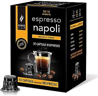 King Cup - Pack de 50 Capsules de Café Nespresso, Mélange Napoli, Intensité 10/10, Café Dense et Crémeux, 50 Capsules Comp...