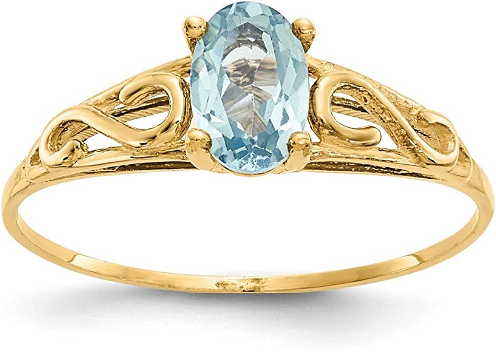 14k Yellow Gold Synthetic Blue Aquamarine Band Ring Size 5.00 Baby Fine Jewelry For Women Gifts For Her
