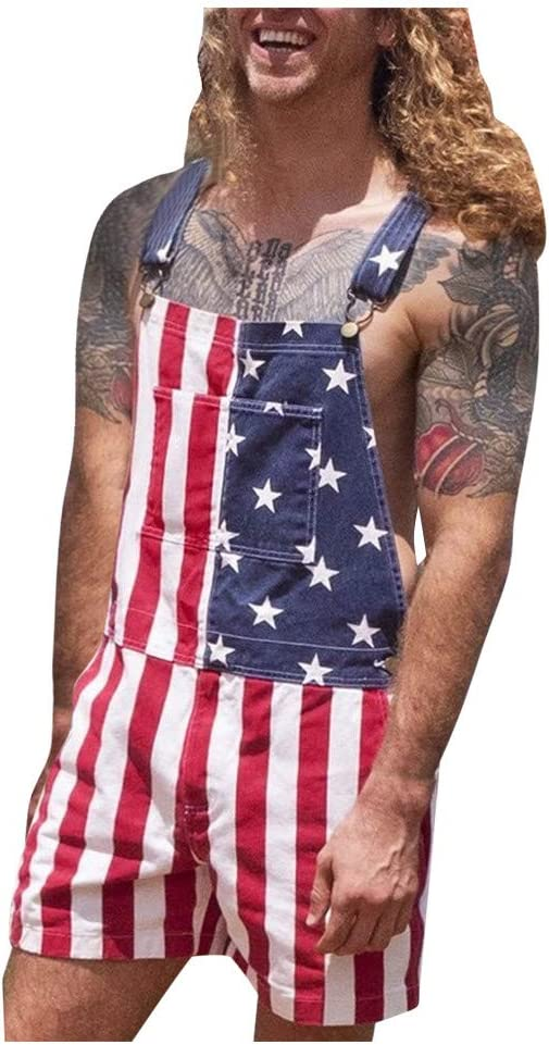 Efitty American Flag Overalls Men's Women's Denim Overalls Denim Shorts with Adjustable Straps Jumpsuit Shorts with Pockets (XL)