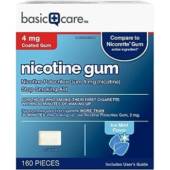 Basic Care Coated Nicotine Polacrilex Gum, 4 mg (nicotine), Ice Mint Flavor, Stop Smoking Aid, 160 Count