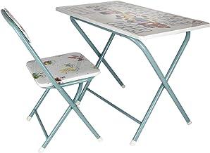 Leostar Kids Folding Study Table and Chair Set, 3678-blue, Blue, H54 x W40 x D60 cm