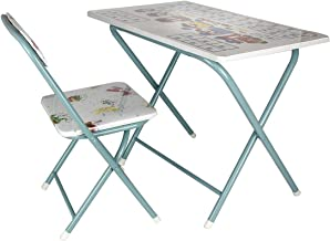 Kids folding study table and chair set, Blue