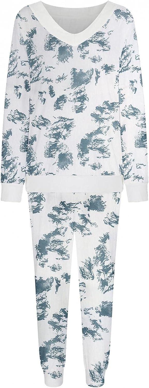 haozzaw Womens Tie-Dye Pajamas Set Long Sleeve Tops with Elastic Waist Pants Casual Sleepwear Tie Dye 2 Piece Pajamas Set