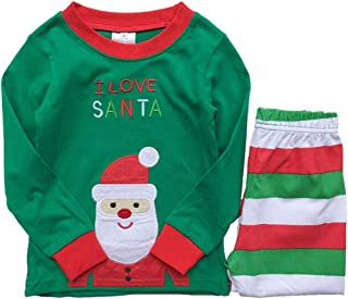 2b710965e5 Christmas Pajamas Kids Boys Girls 100% Cotton Top+ Striped Pant Sleepwear  3-8 Years