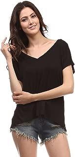 Heart & Hips Women's Oversize Solid Plain V-Neck T Shirt Tops Short Sleeve
