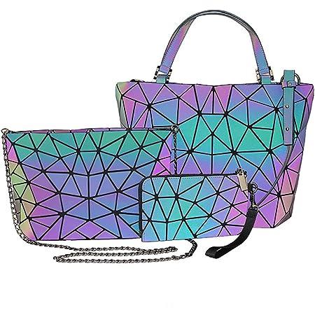 Excras Coole Umhängetasche,PU Geometrische Leuchtende Schultertasche Umhängetasche Clutch Tasche Für Frauen Holographische Reflektierende Tasche Set 3pcs/set