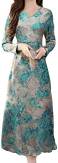 ReooLy Women V-Neck Retro Printing Long Sleeve Long Dress, Lady Fashion Elegant midi Dress