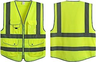 G & F Products Reflective Vest Safety Vest High Visibility with eflective strips multi-pockets ANSI Class 2 standard, Neon...