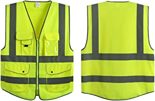 G & F Products Reflective Vest Safety Vest High Visibility with eflective strips multi-pockets ANSI Class 2 standard, Neon Green Size Large
