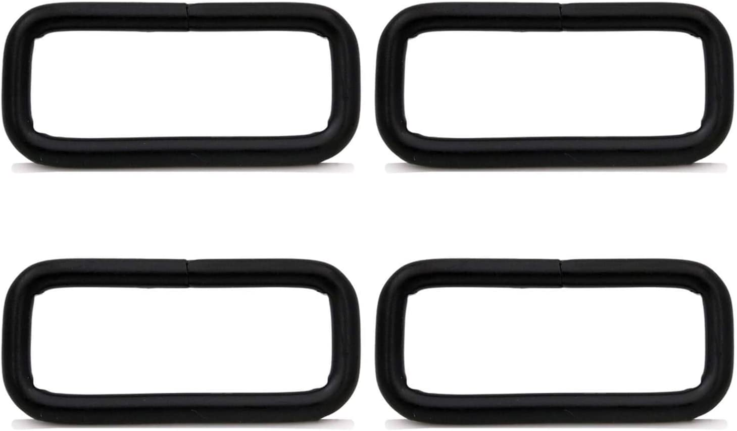 BIKICOCO Rectangle Buckle Ring Metal Non Welded 3.8 x 2 cm Inside Dimensions Black Pack of 4
