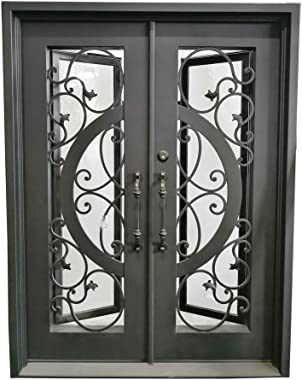 ALEKO IDQD38 Iron Vine and Curve Dual Door with Square Top Frame and Threshold - 81 x 62 x 6 Inches - Matte Black