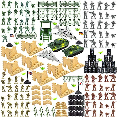 CORPER TOYS Army Men Action Figures Military Base Set Army Toys of WW 2 Military Soldier Battle Group Battlefield Accessories Playset with Play Bucket - 250 pieces