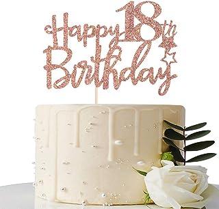 Rose Gold Glitter Happy 18th Birthday Cake Topper - 18 Cake Topper - 18th Birthday Party Supplies - 18th Birthday Party De...