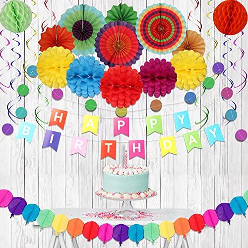 Geburtstagsdeko, Geburtstag Dekoration Set, Kindergeburtstag Deko 28 PCS mit 7 Papier Poms+6 Papierfächerblume+12 spiralförmige Papier+1 Ballonpapiergirlande+1 Happy Birthday Banner(Mehrfarbig)