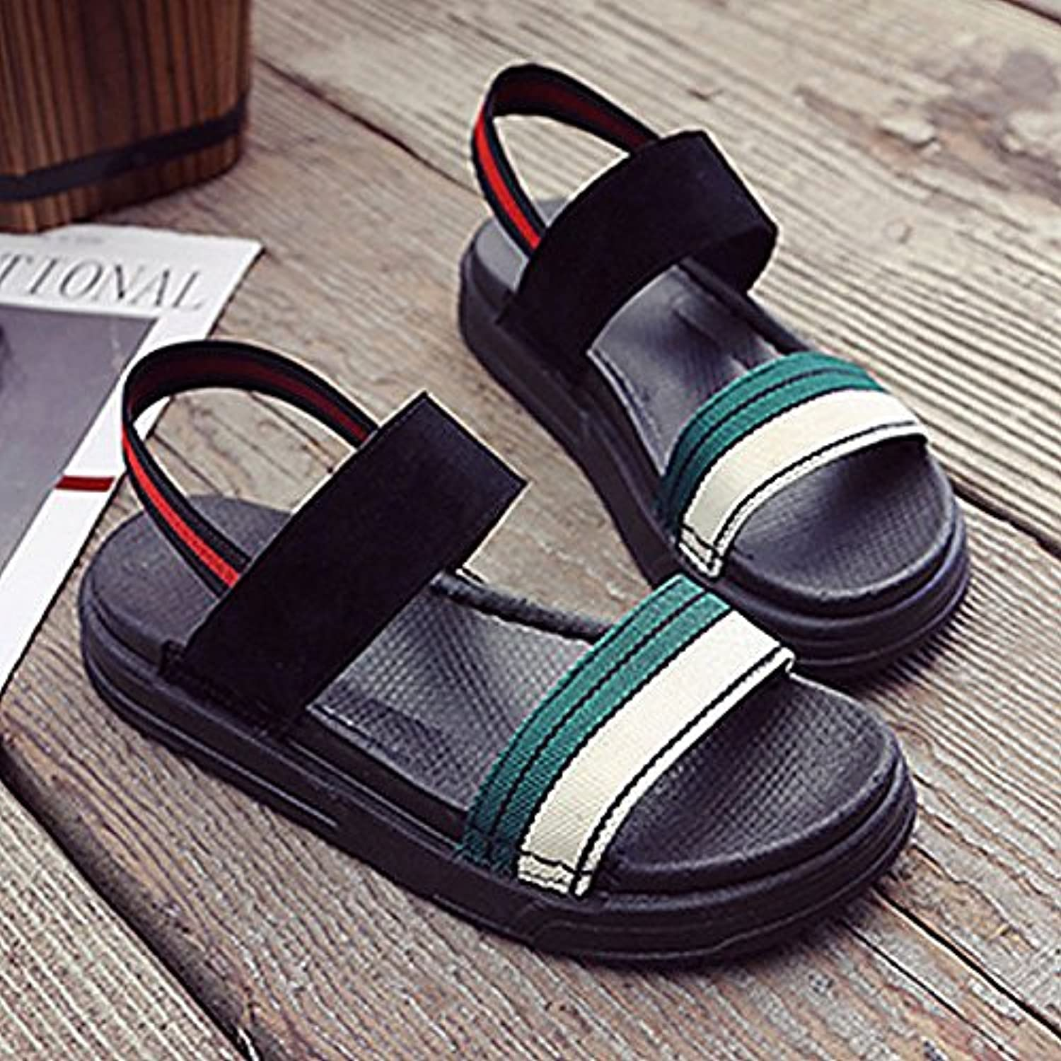 Women's shoes PU Summer Comfort Sandals Flat Heel for Casual Black Red Green