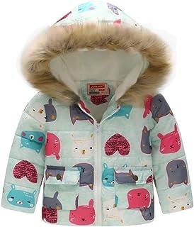 ZHYIYI - Abrigo con capucha para niños y niñas, con diseño de dibujos animados, para otoño e invierno, cálido y acolchado,...