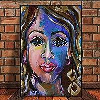 CHBOEN キャンバス絵画家の装飾 抽象的なカラフルな女性海賊キャンバス絵画壁アートポスタープリントアフリカの女性アート写真家の装飾クアドロス 60x90cm(23.6x35.5インチ)