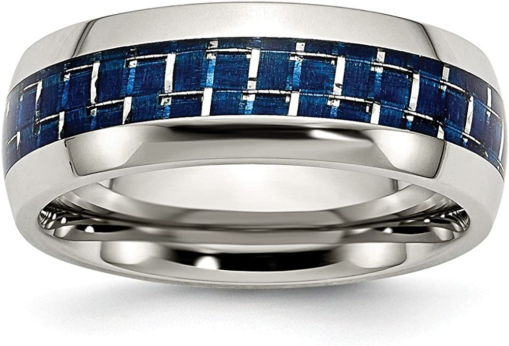 Solid Stainless Steel Blue Carbon Fiber-Inlay Wedding Band Ring Comfort-Fit