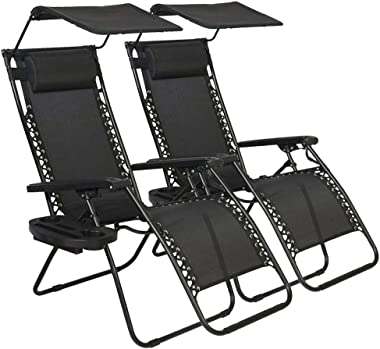 Zero Gravity Chair, Outdoor Folding Adjustable Lounge Chair Chaise 250LBS Weight Capacity Recliner Chairs with Cup Holder and