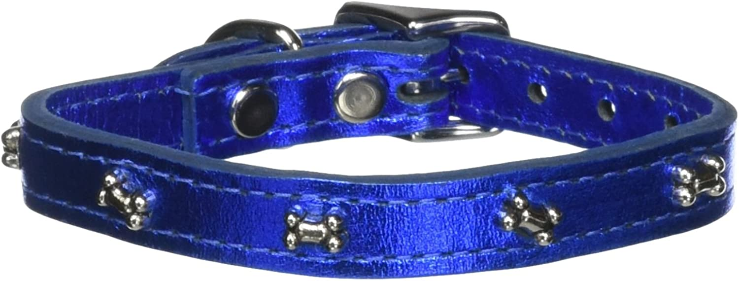 OmniPet 6069BNMBL12 Signature Leather Dog Collar with Bone Ornaments, Metallic bluee, 12