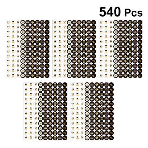 Amosfun 5 Sheets/540pcs 2020 Graduation Stickers Gefeliciteerd Grad Zelfklevende Sticker DIY Gebruik Chocolade Cookie Envelopstickers voor Graduation Party Supplies