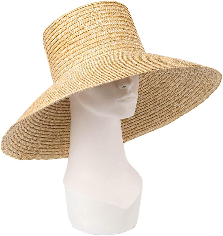 Nafanio Outdoor Travel Straw Hat Spring Summer High Flat Top Stalk Sunscreen Sunshade Beach Sun Hats