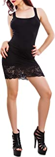 Toocool - Vestito Donna Miniabito Jersey Fondo Pizzo Floreale Abito Canotta Sexy A1693
