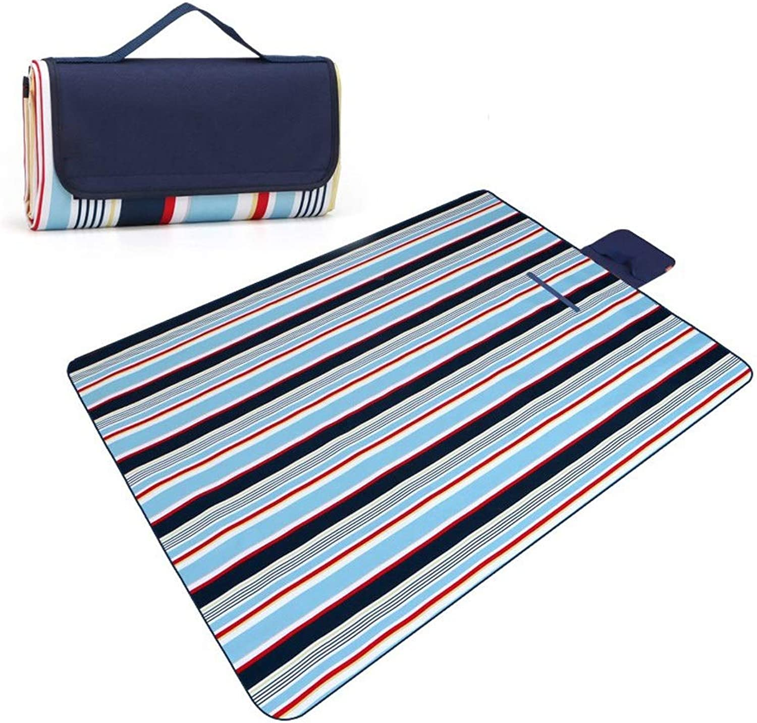 Picnic Blanket, Outdoor Indoor Portable Blanket Waterproof Backing with Handle, Foldable Beach Mat for Picnic 200 X 150 cm
