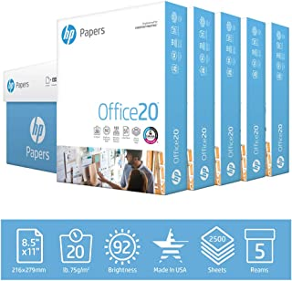 HP Printer Paper Office 20lb, 8.5x 11, 5 Ream Case, 2,500 Total Sheets, Made in USA From Forest Stewardship (FSC) Certified Resources, 92 Bright, Acid Free, Engineered for HP Compatibility, 172160C