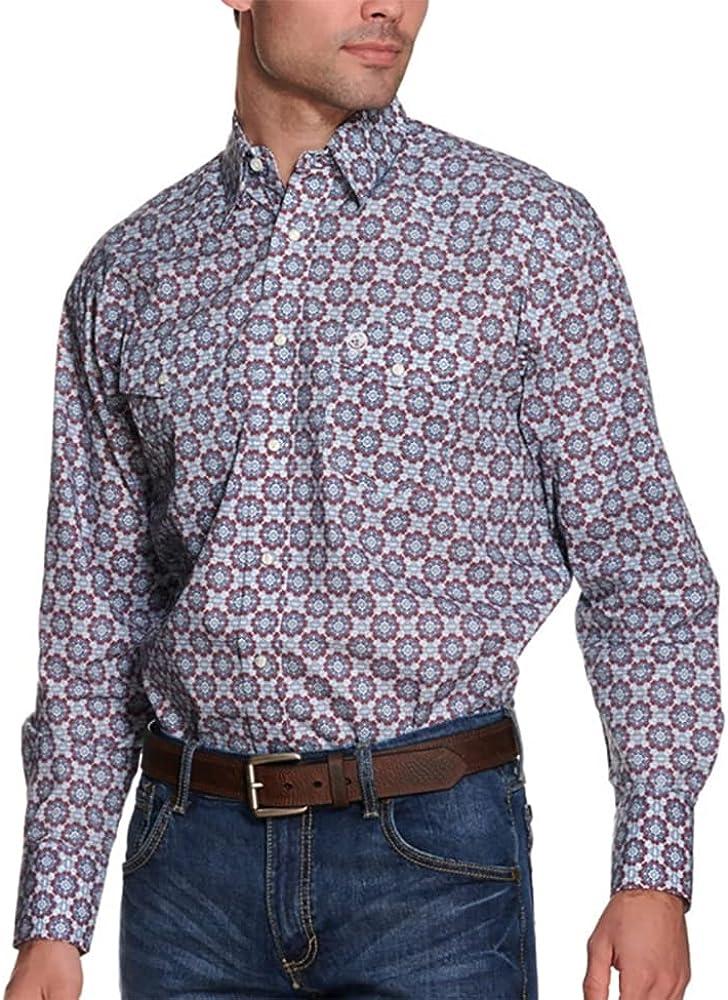 Wrangler Men's George Strait by Medallion Geo Print Long Sleeve Snap Western Shirt Blue Large Tall