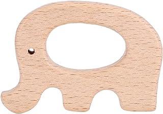 5-pack houten bijtring, natuurlijk hout voor tandjes, schattige dierenvorm voor baby's, rustgevend, BPA-vrij (olifant)