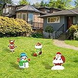 4 Piezas Estacas de Césped de Navidad Decoraciones Estacas de Jardín de Navidad Letreros de Jardín de Navidad con Diseños de Papá Noel Muñeco de Nieve Alce Calcetín Navideño y 8 Estacas