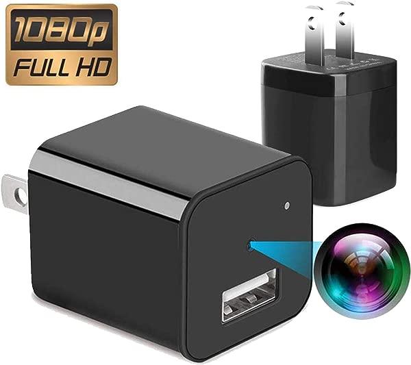 间谍相机 32gb 不需要 WiFi 2019 版 XJW 迷你间谍暗访相机 1080P 便携式小型高清保姆凸轮充电器相机 1080P 运动探测墙适配器相机循环记录