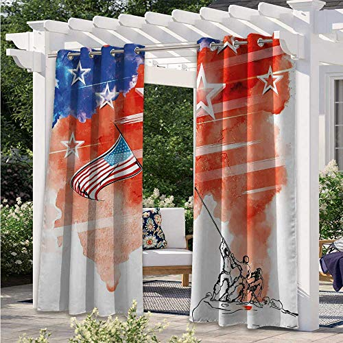 Outdoor Blackout Curtains Watercolor Artwork of a Historical Scene Planting The Flag Design Outdoor Porch Curtains Add Style and Character and Privacy to Patio Multicolor W84 x L84 Inch