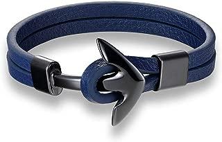 Men Bracelet 316 L Titanium Steel Jewelry Boat Anchor Bracelet Leather Bracelet Men and Women Friendship Bracelet,21cm