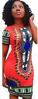 FORUU Mini Dresses for Womens, Traditional African Print Dashiki Bodycon Sexy Short Sleeve