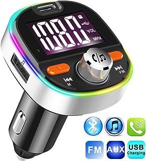 comprar comparacion Transmisor FM Bluetooth V5.0, Adaptador de Radio de Coche 2 USB Puertos, Carga Rápido PD3.0 con Micrófono y Altavoz, Siri ...