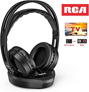 Wireless TV Headphones, RCA Over Ear Hi-Fi Stereo Headset for TV Watching PC VCD, Headphones with 2.4GHz RF Transmitter, Charging Dock for Seniors Hearing Impaired, 100ft Range, Rechargeable, Black