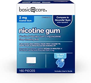 Basic Care Nicotine Gum, 2mg, Ice Mint Flavor, 160 Count