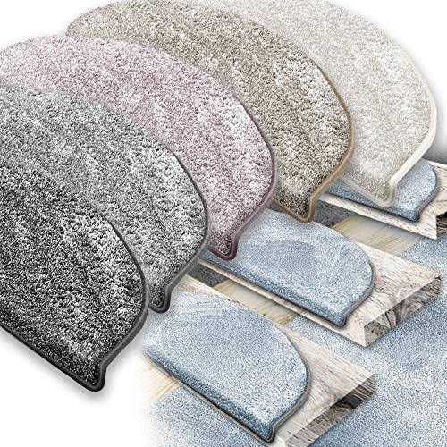 casa pura Treppenläufer | Velour-Effekt: Weicher und bequemer Teppich | Beständige Polypropylenmatte | Eisbecher - silbergraues, rechteckiges Treppenlaufband (15 Stück)