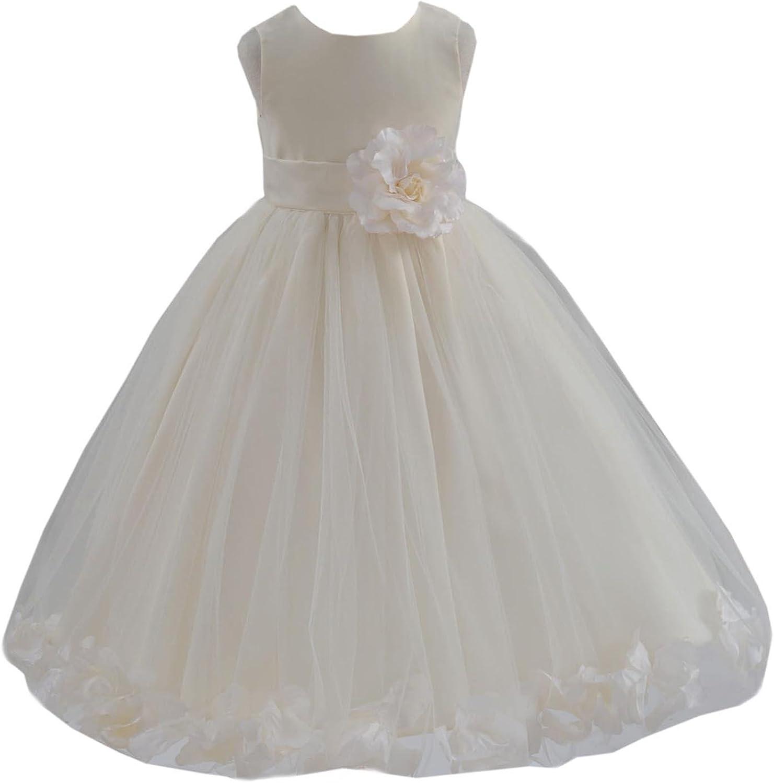 Max 81% OFF ekidsbridal Floral Rose Petals Ivory Flower Girl Communion Dress Max 80% OFF