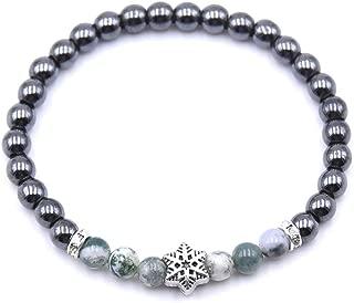 6mm Natural Stone 7 Chakra Bracelets for Men Women Crystal Snowflake Hematite Buddha Bead Strand Bracelets Pulseira Jewelry